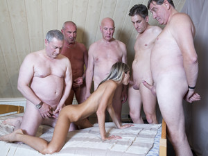 Six old pervs shove their dicks in Ginas payee holes / porn tube