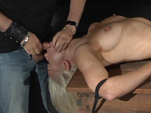 Imobilizated in ropes and put to suck deepthroat