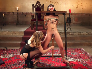 Submissive Lesbian Sex Toy Spanking, Fisting and Anal Strap-on!