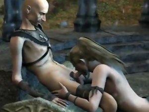 Blonde 3d elf girl sucks and gets fucked
