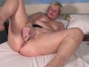 Horny Dutch housewife playing with her toy