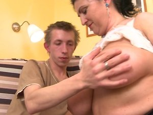 Horny hairy housewife gets fucked hard and squirts
