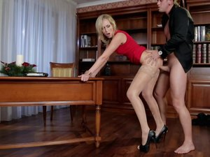 Sexy Blonde Jenny in a Red Dress Gets Fucked at a Company Party