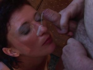 This male slave gets it good from his mature mistress