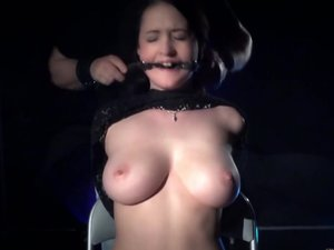 Big boobs slave dildo penetrated and than hot waxed on pussy