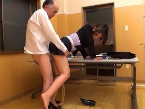 Japanese Av Model Gets Banged Doggy Style In The Office